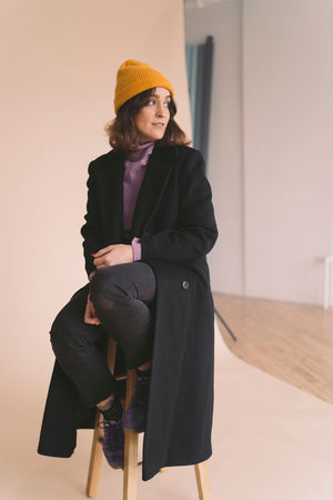 vintage petite black long wool coat