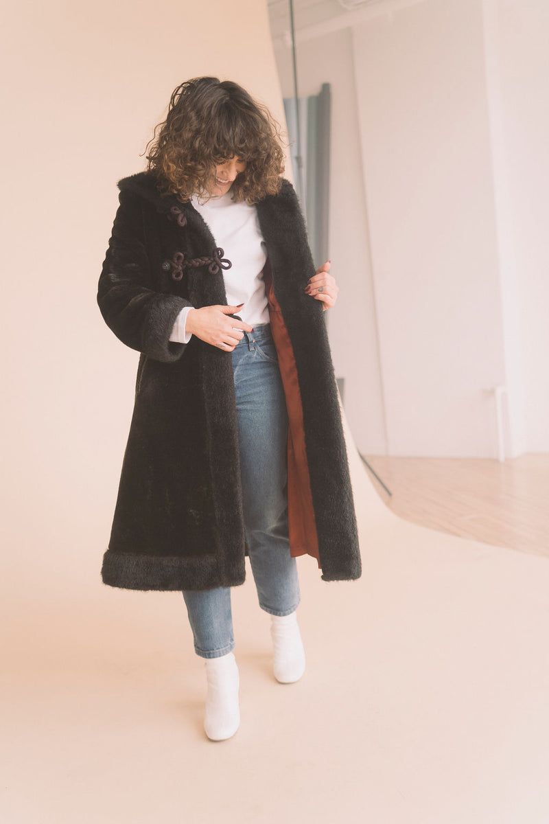 Vintage Faux Fur Full Length Coat : Small Medium : The Black Forest Coat