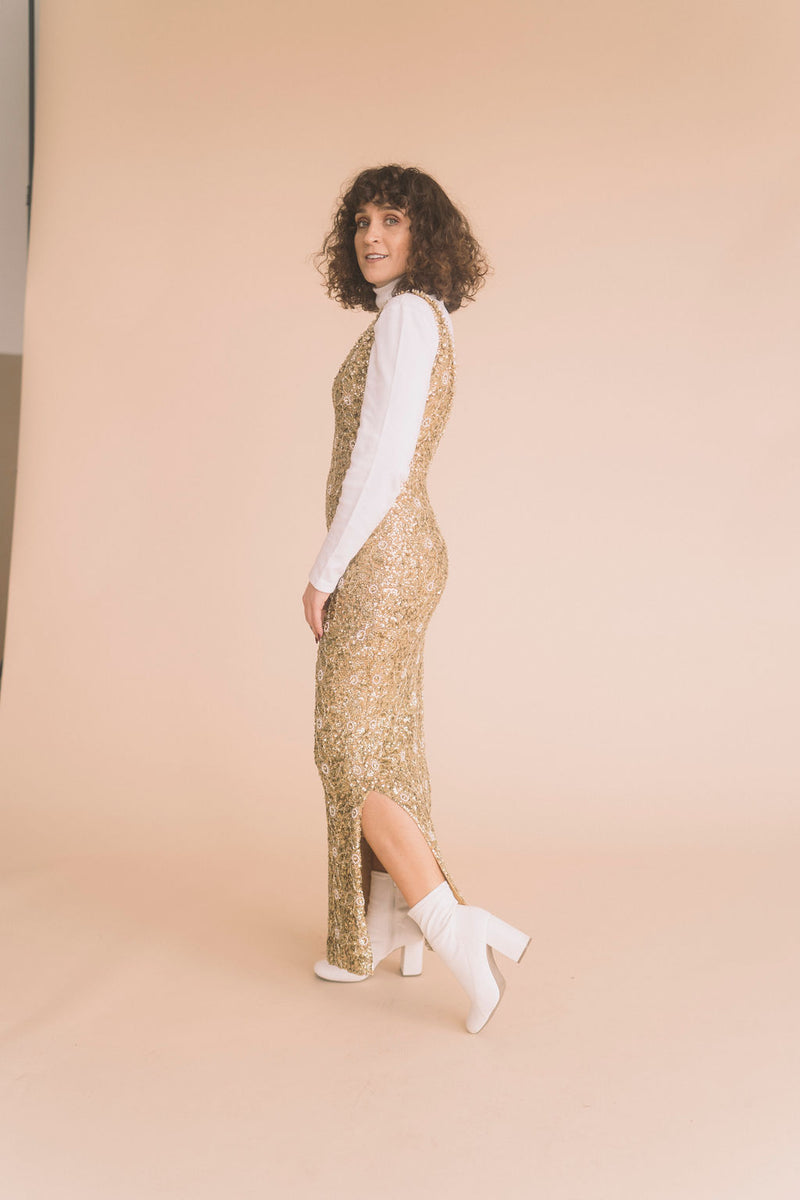 Vintage Gold Sequin Full Length Dress : Medium Petite : The Entry Dress