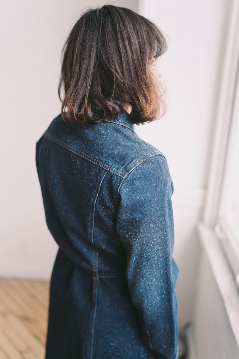 Vintage Denim Trench Coat Sparkle Denim : Medium : Angel Baby Denim Trench - Dress