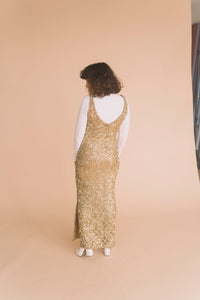 gold full length sequin dress