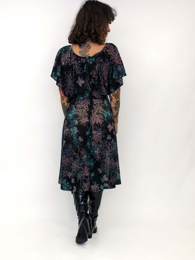 Vintage Dark Floral Dress : Small : The Madam Butterfly Dress