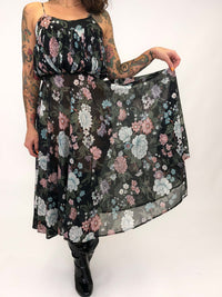 Vintage Dark Floral Print Dress : XS/S : The Arpeja Dress
