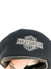 Vintage Harley Davidson Wool Beret : M/L : The Daddy Beret : Black