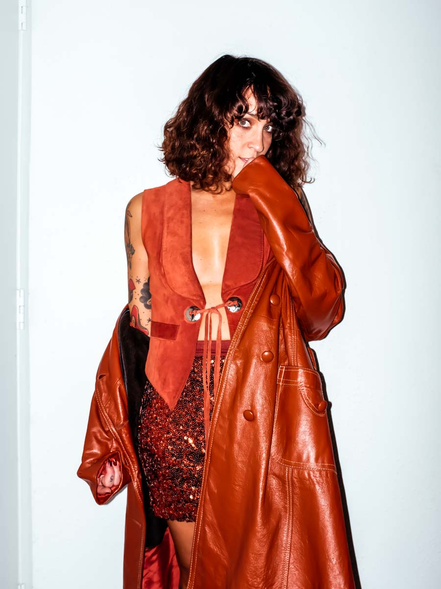 Vintage Brown Leather Trench : Small : The Zilker Coat