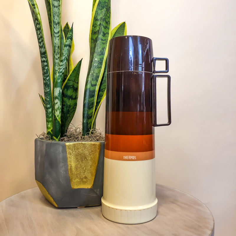 Vintage Brown Stripe Thermos : The Thermos Mug