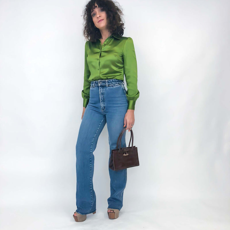 Vintage Green Silk Blouse : XS/ Small : The Oregano Blouse