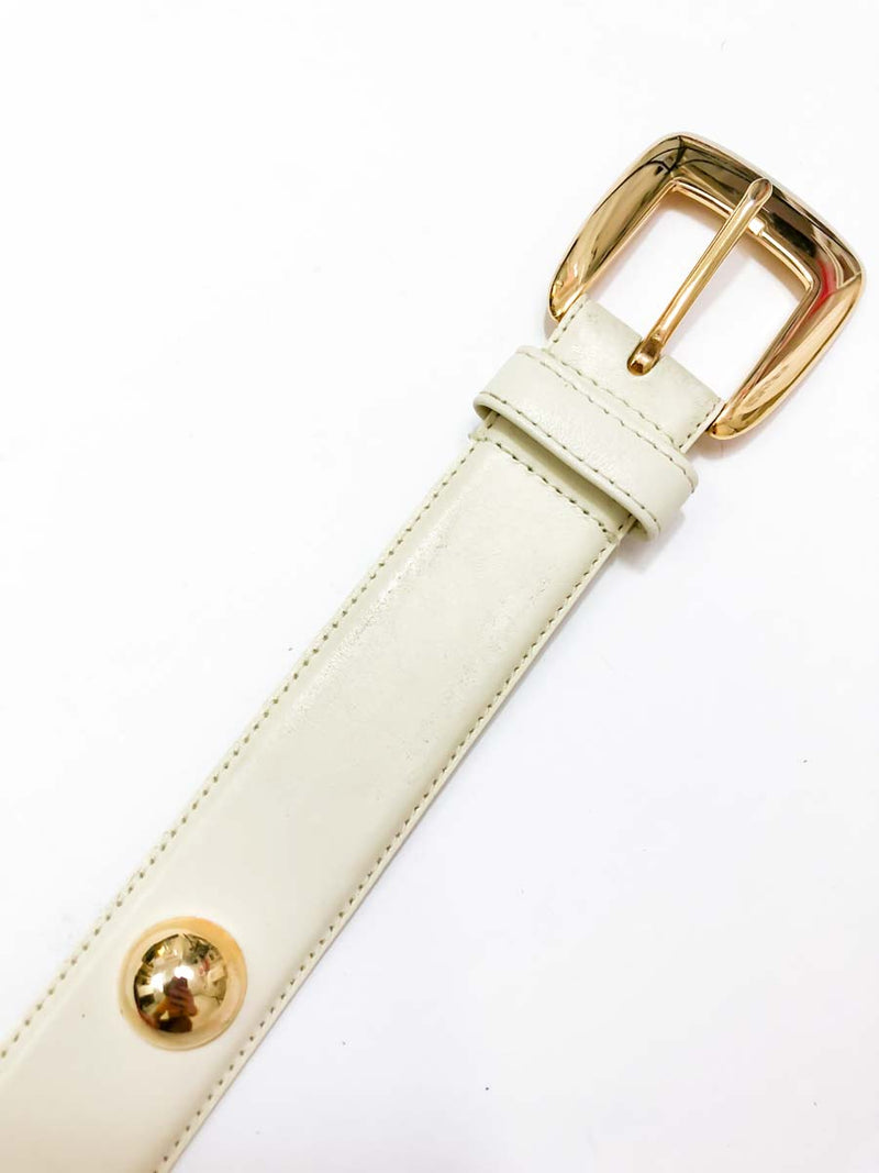 Vintage Ivory Leather Belt with Gold : Small Medium : Rodeo Drive Belt
