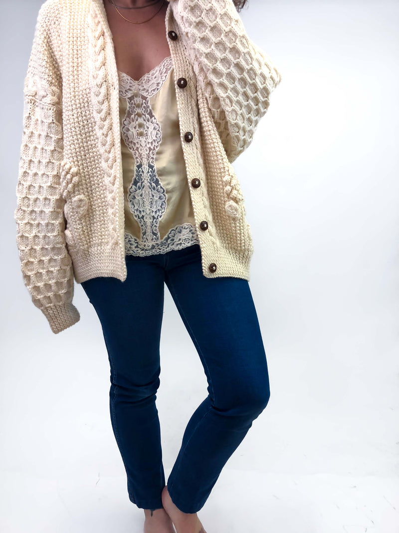 Vintage Ivory Cable Knit Cardigan : Medium Large : The Blarney Sweater