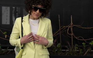 Thrifted Lime Pant Suit : Small Medium : The Moda Set