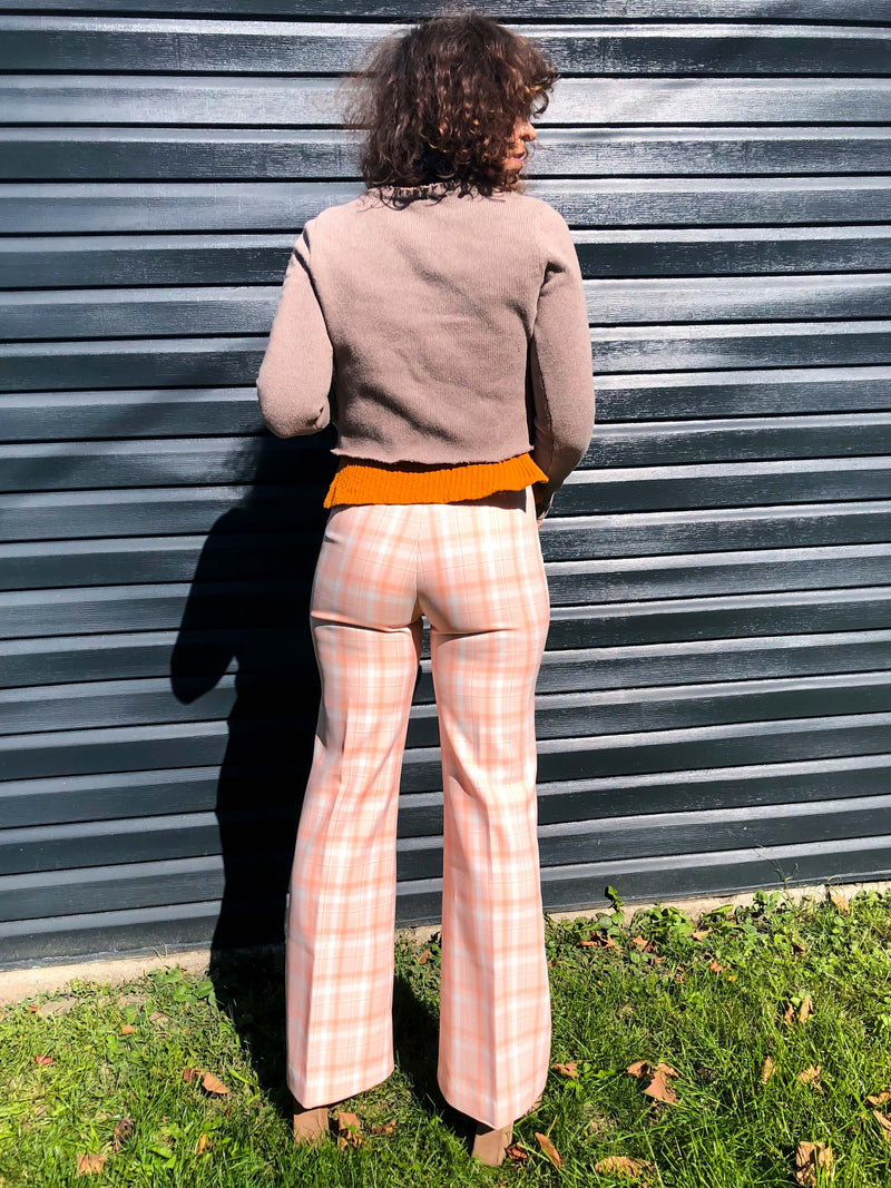 Vintage Peach Checkered Bell Bottoms : XS/ Small : The Peachy Picnic Pant