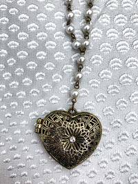Vintage Pearl Heart Locket Necklace :: The Sarah Necklace