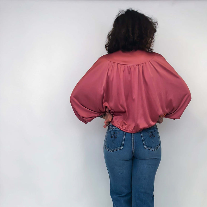Vintage Rose Pink 3/4 Sleeve Shrug : Medium : The Elliette Shrug