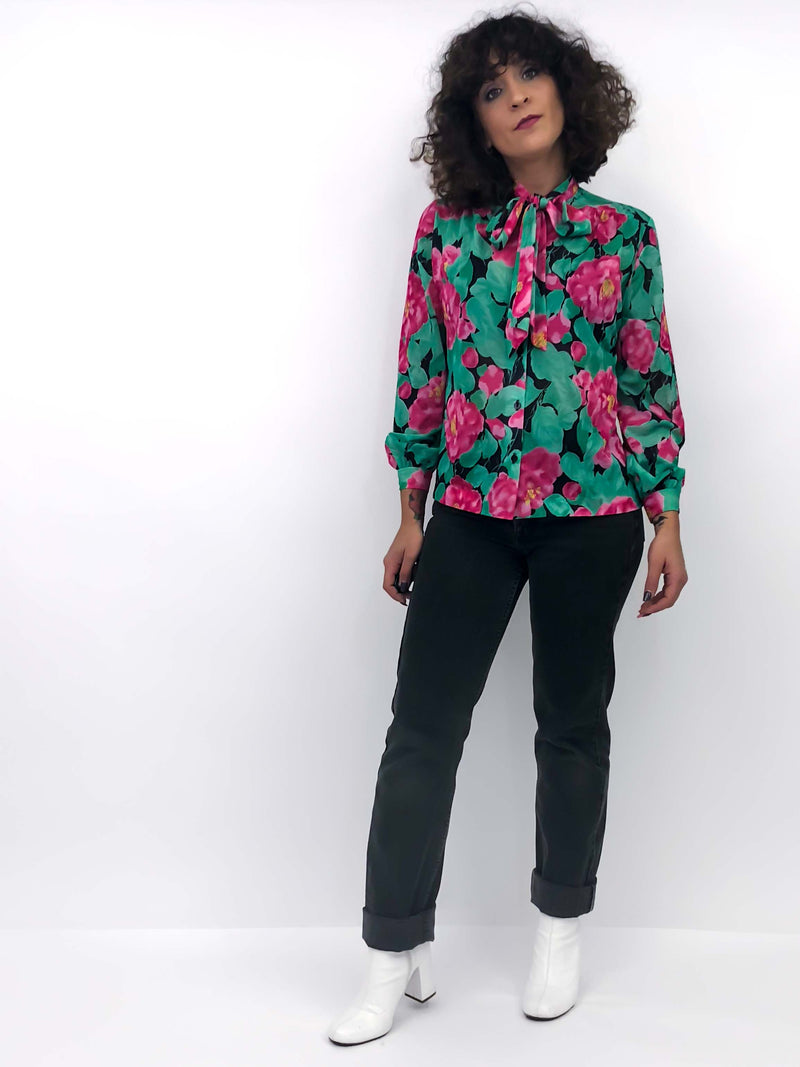 Vintage Floral Blouse : Medium Petite : The Frequent Flyer Top