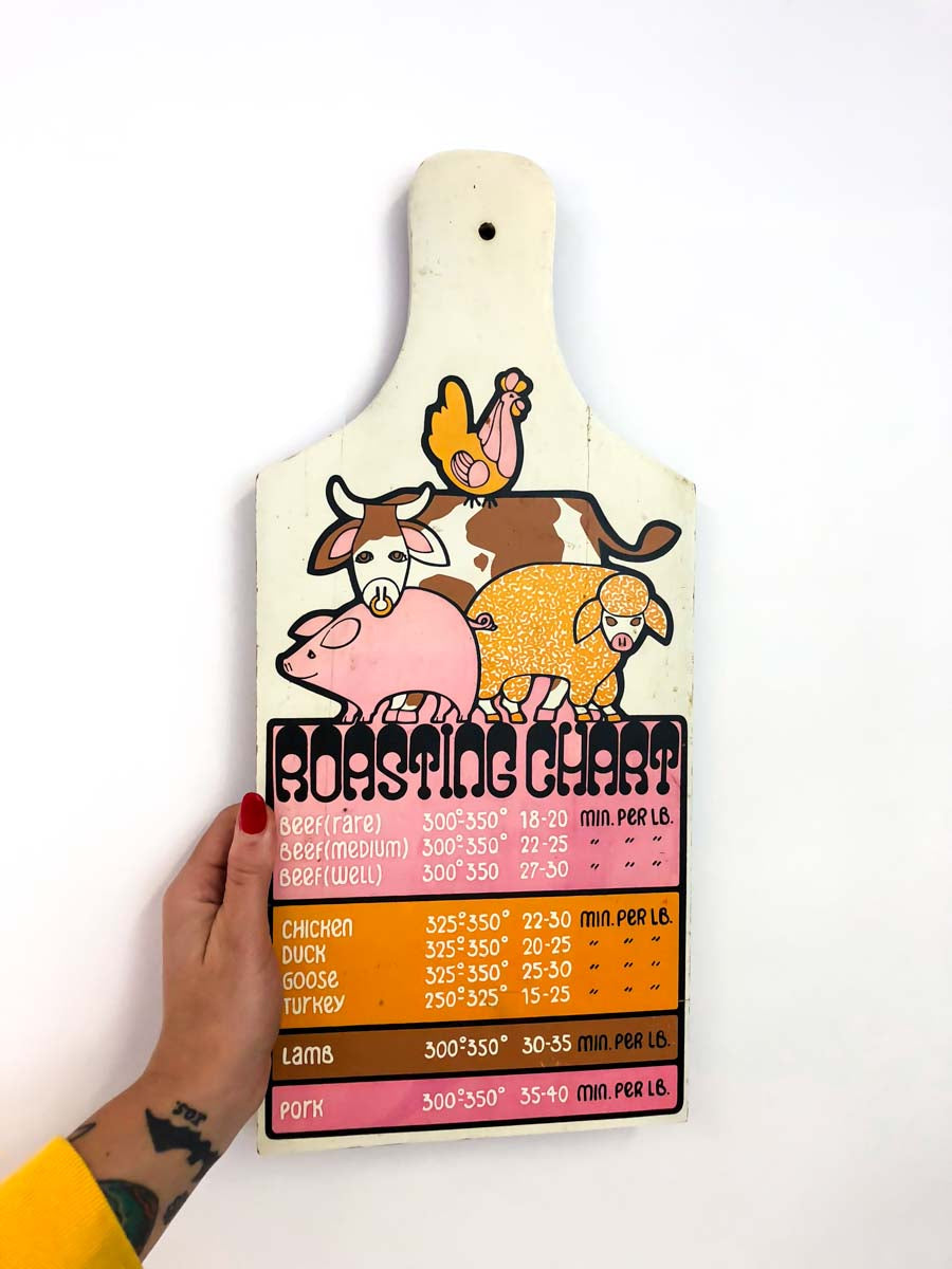 Vintage Roasting Chart Wood Hanging
