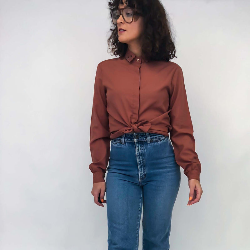 Vintage Rose Petal Floral Collar Blouse : Small : The Bashful Blouse
