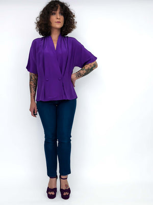 Vintage Silk Blouse Violet : Medium : The Jayme Blouse