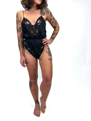 Vintage Black Lace Lingerie Bodysuit : Small : The Cher Teddy