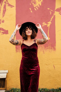 Vintage Burgundy Velvet Skirt and Cami Set : Medium : The Dion Set