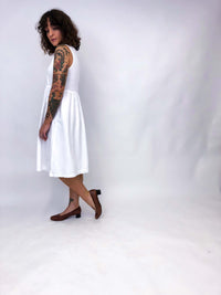 Vintage White Cotton Dress : Medium : The Blank Slate Dress