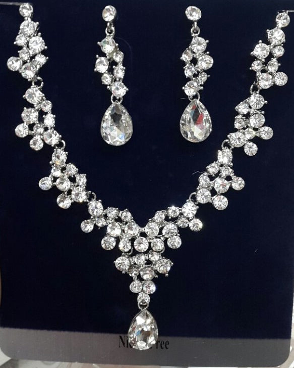 Silver Diamante Earring Necklace Set