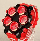 montre rouge multi cadran