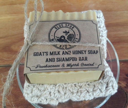 Goat's Milk and Honey Soap and Shampoo Bar with wash cloth