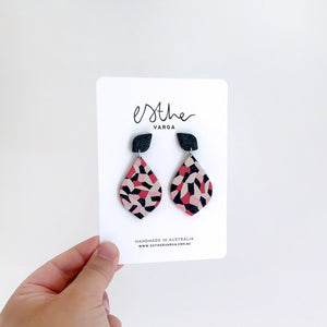 Kaleidoscope Black & Red Teardrop Earrings