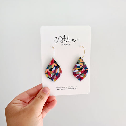 Kaleidoscope Watercolour Teardrop Hoops
