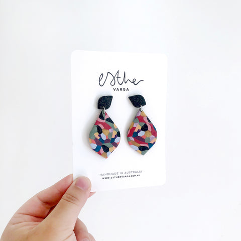 Kaleidoscope Watercolour Teardrop Earrings