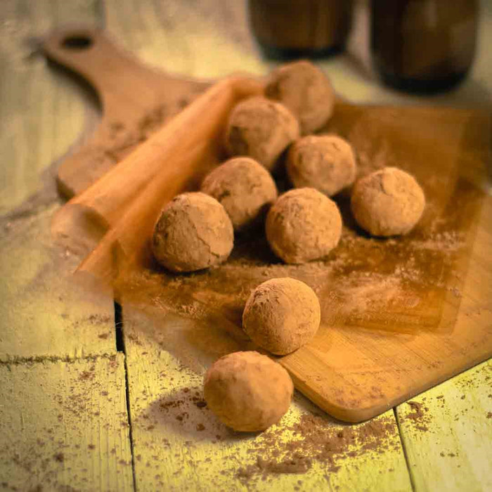 Organic raw cacao & salted coconut caramel truffles