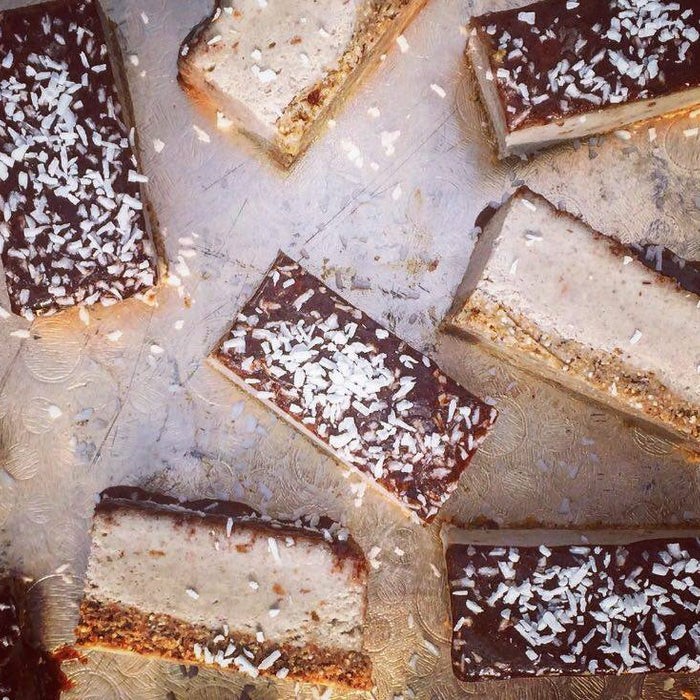 Cashew and Coconut Raw Chocolate Caramel Slices