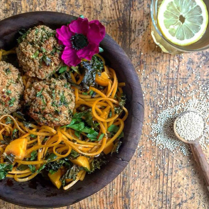 Miso Quinoa Balls with a Butternoodle Salad
