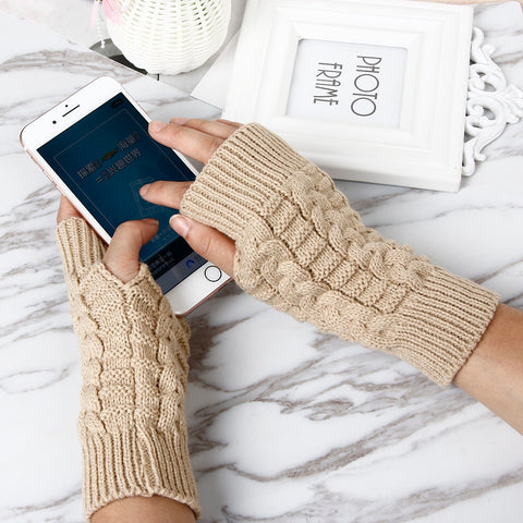 Knitting Half Fingers Gloves