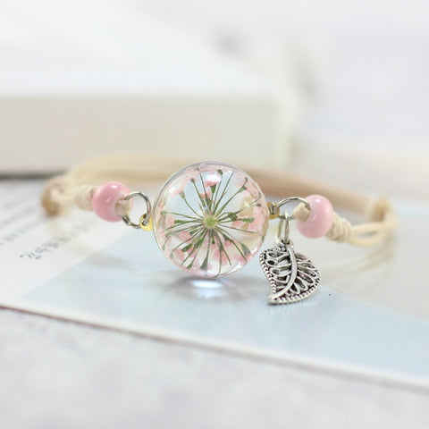 Flower Glass Ball Bracelet
