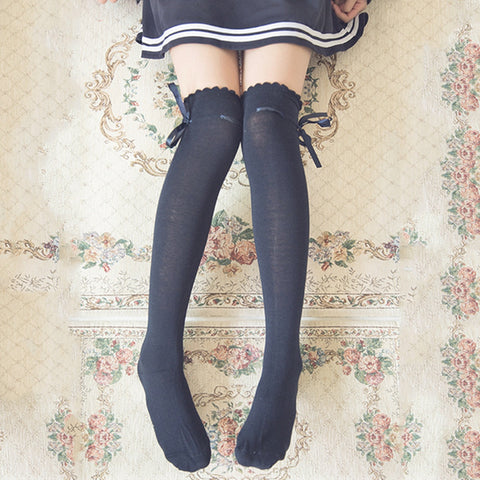 Kawaii Over Knee Bow Socks