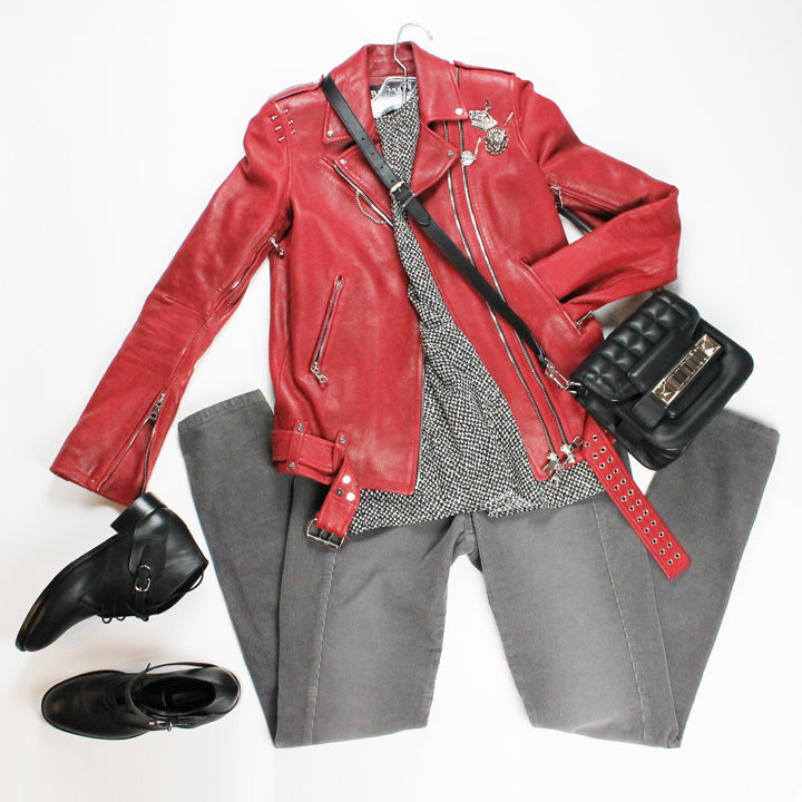 Balmain red jacket and Proenza Schouler bag
