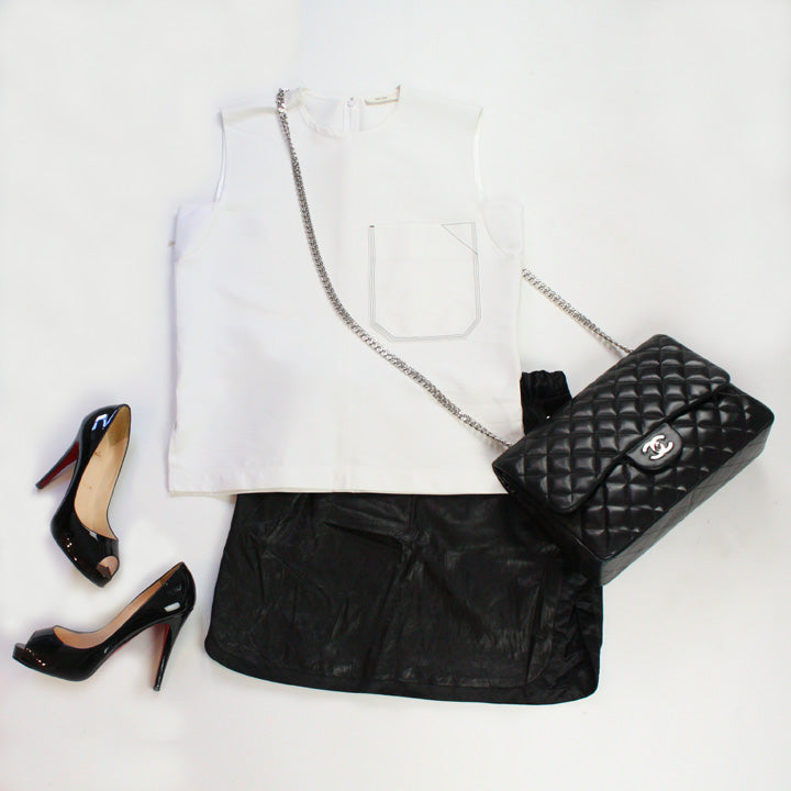 rowley skirt Chanel bag christian louboutin shoes celine top