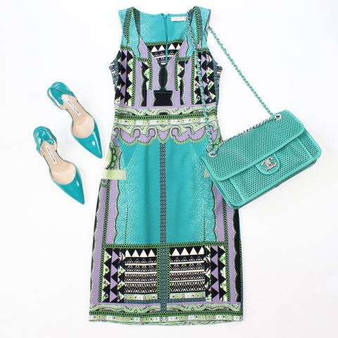 Etro Dress and Manolo Blahnik Shoes