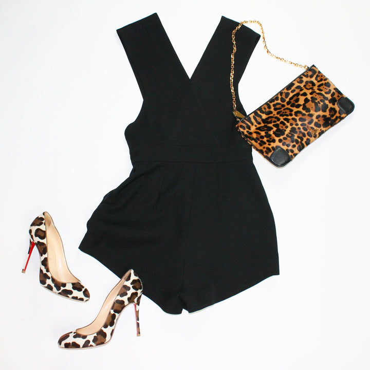 Black Romper and Louboutin leopard Pumps