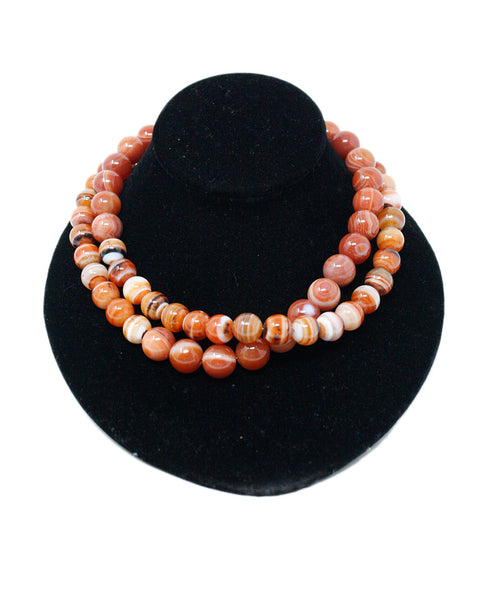 Simon Alcantara Orange White Carnelian Beaded Necklace 1