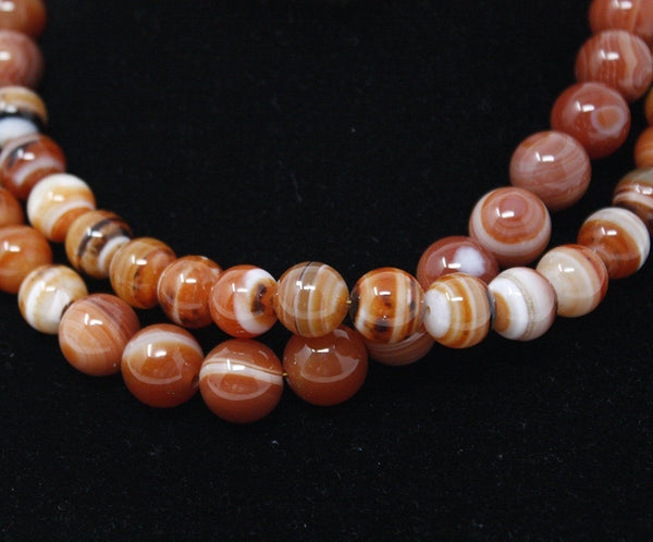 Simon Alcantara Orange White Carnelian Beaded Necklace 4