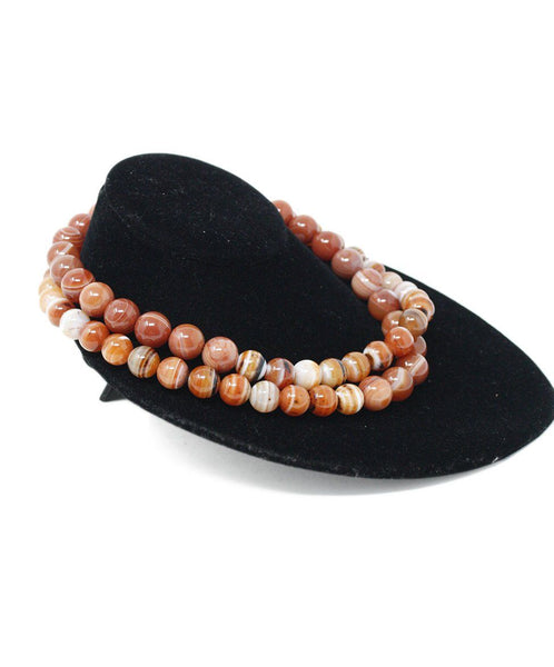 Simon Alcantara Orange White Carnelian Beaded Necklace 2