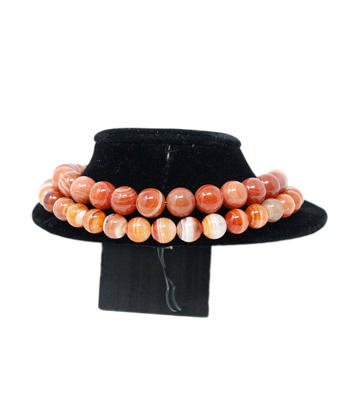 Simon Alcantara Orange White Carnelian Beaded Necklace 3