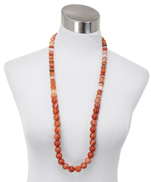Simon Alcantara Orange White Carnelian Beaded Necklace