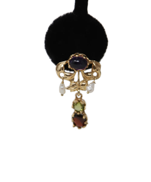 14 K Gold Amethyst Garnet Peridot Earrings 3