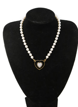 Ivory Pearls 14k Gold Diamond Necklace 1