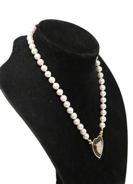 Ivory Pearls 14k Gold Diamond Necklace 2