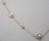 Multicolored Pearls 18K Gold Necklace 1