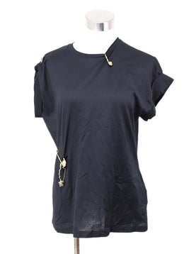 Versace Black T-shirt with Gold Safety Pins size 4